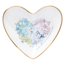Load image into Gallery viewer, Violet Floral Heart Glass Trinket Tray - Adoration Apparel | Christian Shirts, Hats, for Women, Men and Toddlers
