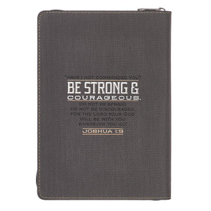 Luxleather Be Strong and Courageous Zipper Closure Journal - Adoration Apparel | Christian Shirts, Hats, for Women, Men and Toddlers