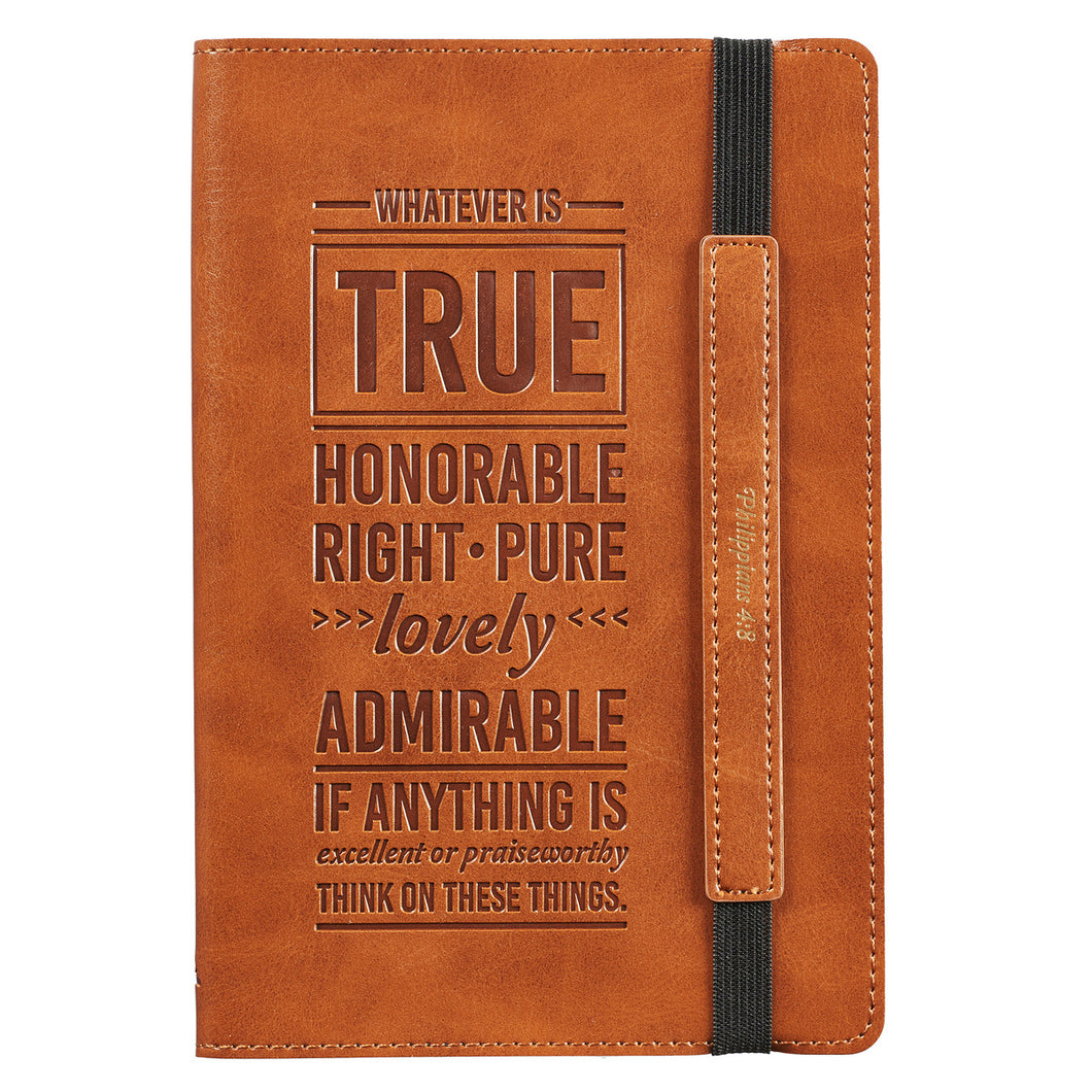 LuxLeather Whatever Is True Bullet Journal - Adoration Apparel | Christian Shirts, Hats, for Women, Men and Toddlers