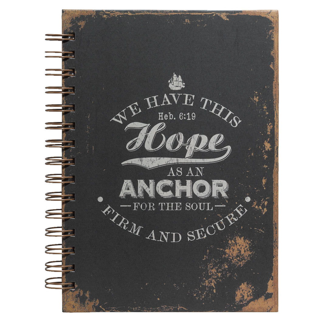 Hope As An Anchor Large Hardcover Wirebound Journal - Adoration Apparel | Christian Shirts, Hats, for Women, Men and Toddlers