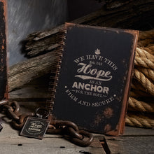Load image into Gallery viewer, Hope As An Anchor Large Hardcover Wirebound Journal - Adoration Apparel | Christian Shirts, Hats, for Women, Men and Toddlers