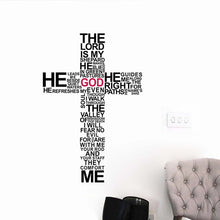 Load image into Gallery viewer, Vinyl Wall Sticker Decal- Cross, Psalm 23 - Adoration Apparel | Christian Shirts, Hats, for Women, Men and Toddlers