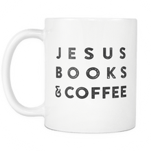 "Load image into Gallery viewer, ""Jesus Books & Coffee"" White Mug - Adoration Apparel 