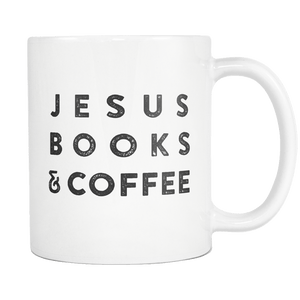 """Jesus Books & Coffee"" White Mug - Adoration Apparel 