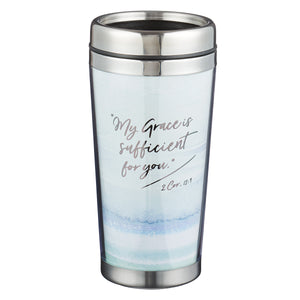 My Grace is Sufficient - 2 Corinthians 12:9 Polymer Travel Mug - Adoration Apparel | Christian Shirts, Hats, for Women, Men and Toddlers