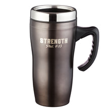 Load image into Gallery viewer, Strength Stainless Steel Travel Mug - Adoration Apparel | Christian Shirts, Hats, for Women, Men and Toddlers
