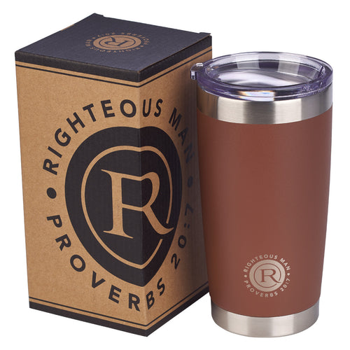 Stainless Steel Righteous Man Travel Mug - Adoration Apparel | Christian Shirts, Hats, for Women, Men and Toddlers