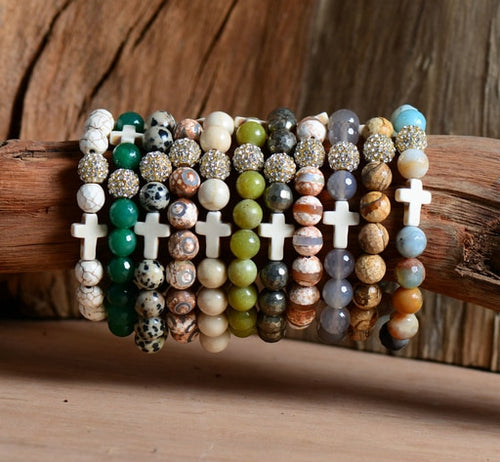 Natural Gemstone Beads with Cross Stretch Bracelet - Adoration Apparel | Christian Shirts, Hats, for Women, Men and Toddlers