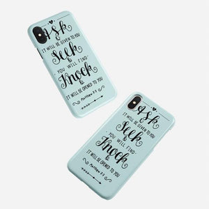 Scripture Cell Phone Case- Matthew 7:7 - Adoration Apparel | Christian Shirts, Hats, for Women, Men and Toddlers