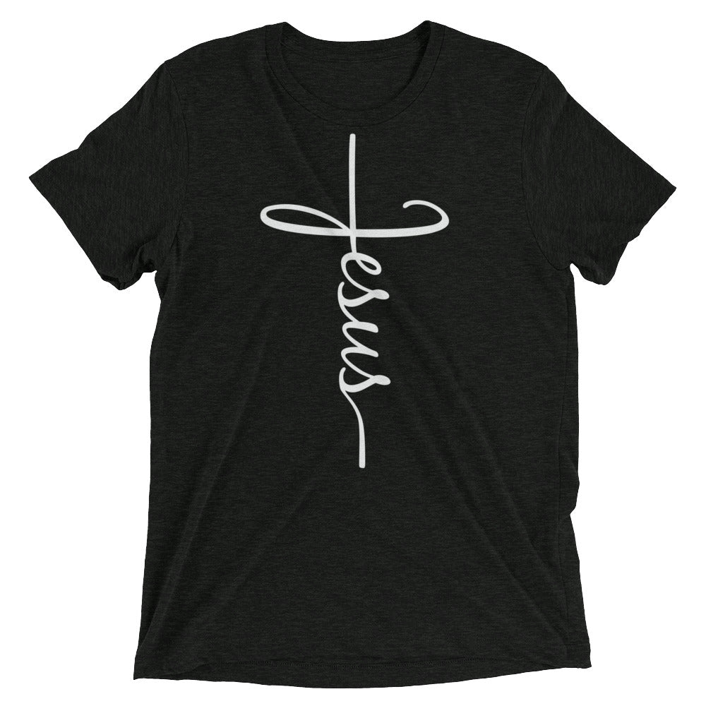 Jesus Cross Bella + Canvas Tri-Blend T-Shirt - Adoration Apparel | Christian Shirts, Hats, for Women, Men and Toddlers