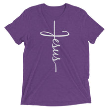 Load image into Gallery viewer, Jesus Cross Bella + Canvas Tri-Blend T-Shirt - Adoration Apparel | Christian Shirts, Hats, for Women, Men and Toddlers