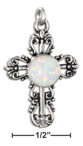 Sterling Silver Fancy Filigree Synthetic Opal Cross Charm - Adoration Apparel | Christian Shirts, Hats, for Women, Men and Toddlers