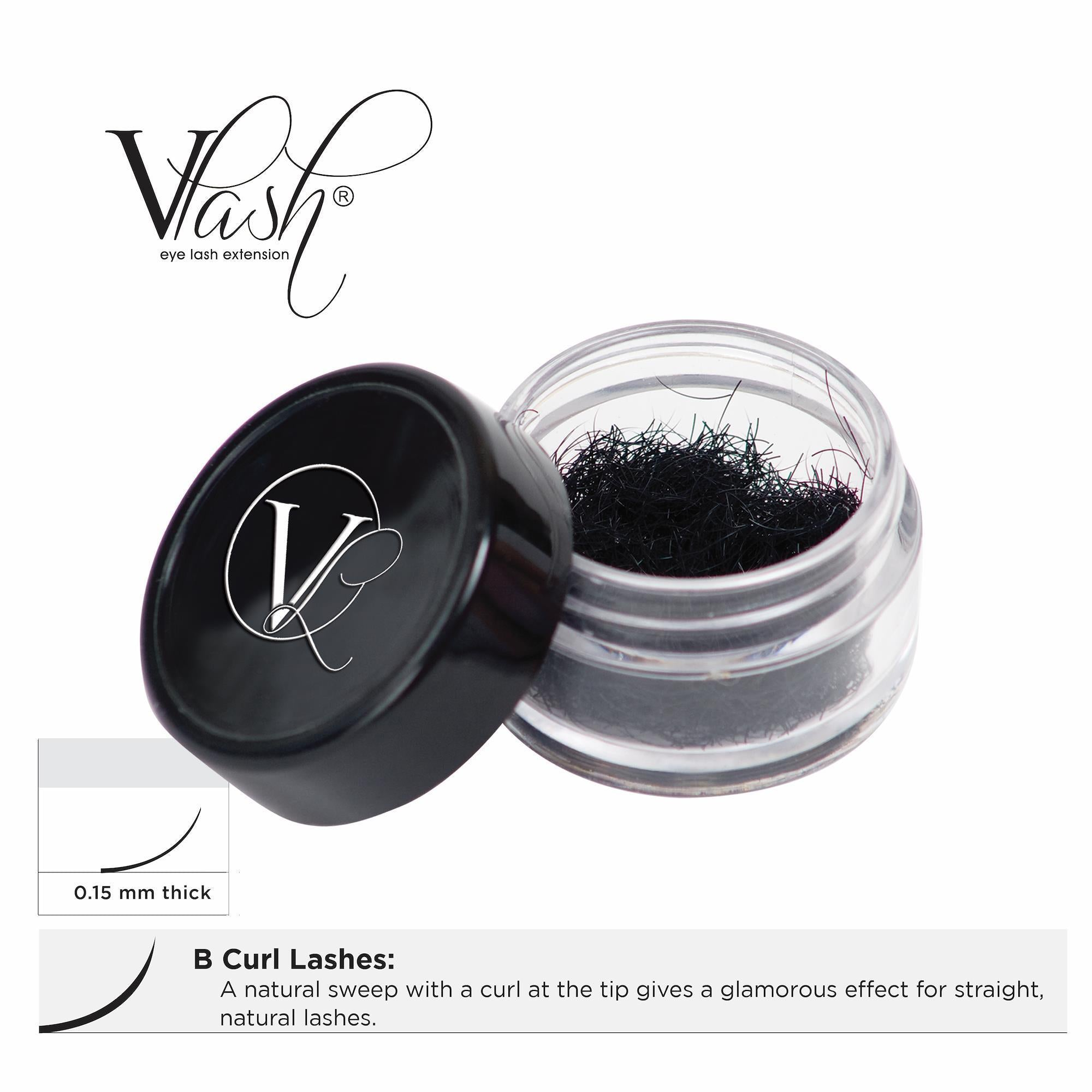 Lash Extensions, Strips, Acces 9mm VLash B Curl Jar Lashes / .15mm thick