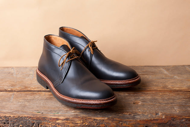 Alden Chukka in Black Calfskin with Plantation Crepe Sole