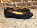 GABOR BALLERINA FLAT IN BLACK SUEDE WITH TORTIOSE SHELL ORNAMENT