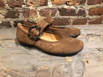 GABOR BALLERINA FLAT IN MID-BROWN SUEDE WITH SUEDE STRAP