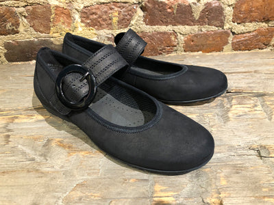 GABOR BALLERINA FLAT IN BLACK SUEDE WITH LEATHER STRAP