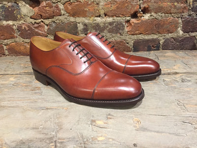 Barker Malvern Cap-Toe Bal Oxford in Rosewood Calf