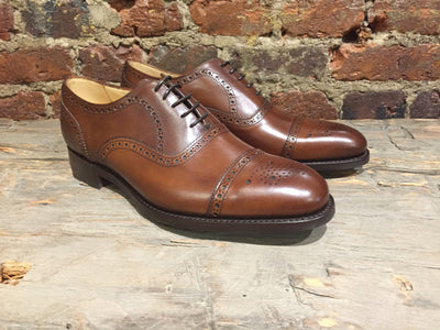 Barker Mirfield Cap-Toe Medallion Oxford in Dark Walnut Calf with Dainite Sole