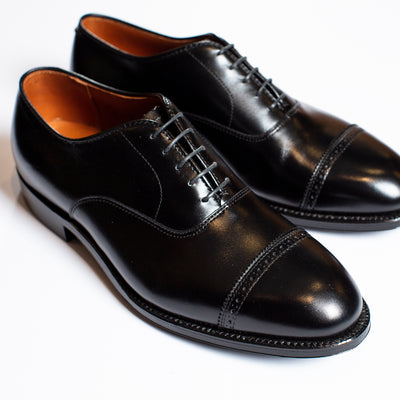 Alden Black Cap Toe with Perforated Seam
