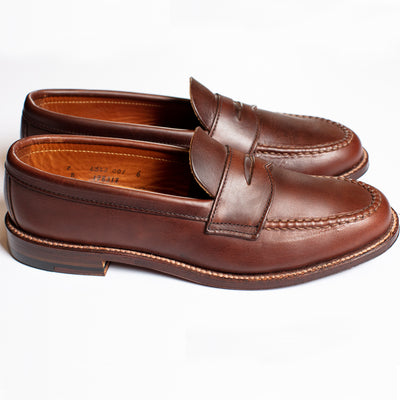 Alden Brown Flex Welt Penny Loafer in Pull Up Leather