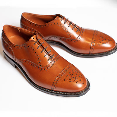 Alden Burnished Tan Cap Toe with Medallion