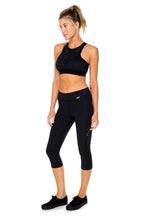 TRINIDAD - Elastic Band Sports Bra Top & Laser Cuts Capri Legging • Black
