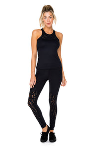 TRINIDAD - High Neck Racer Tank Top & Laser Cuts Legging • Black