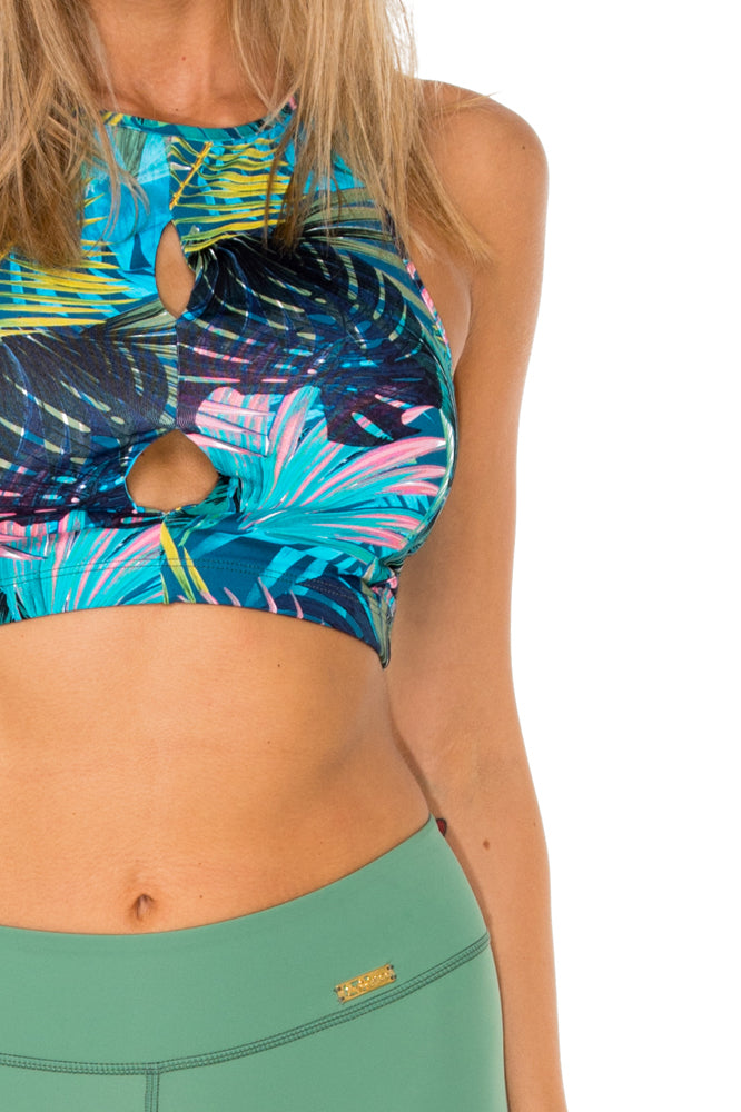 MOJITO - Racer Back Sports Bra Top & Pintucked Knee Legging • Multicolor