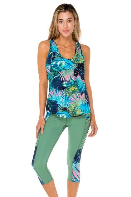 MOJITO - Inner Top Racer Back Overlay Tank Top & Pintucked Side Capri Legging • Multicolor