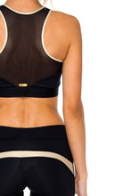 BARACOA - Elastic Band Sports Bra Top & Gold Cut Out Capri • Black Gold