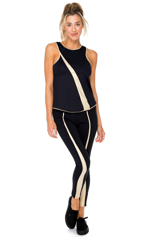 BARACOA - Gold Mesh Racerback Tank Top & Gold Cut Out Legging • Black Gold
