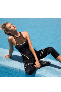 WARRIOR SPIRIT - Tank Top & Mesh Sides Capri Legging • Black Gold