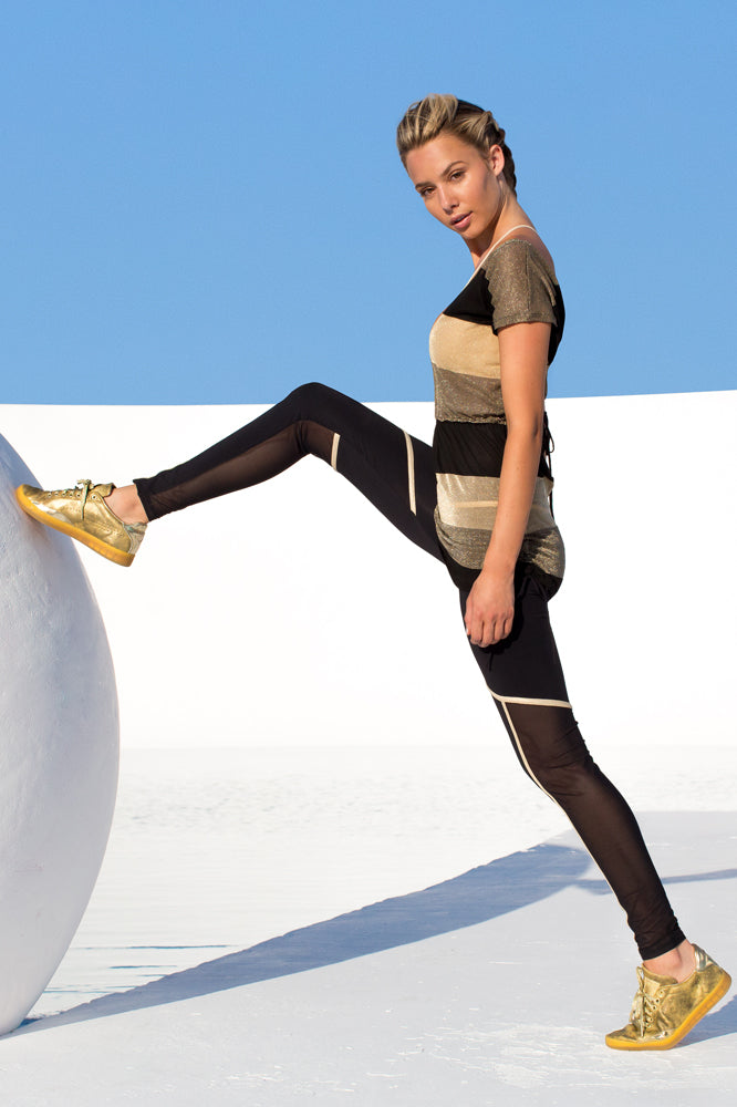 WARRIOR SPIRIT - Relaxed Fit Drawstring Top & Gold Trimmed Legging • Black Gold
