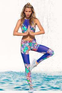 GORGEOUS CHAOS - Elastic Band Sports Bra & Mesh Cut Out Legging • Multicolor (874442850348)