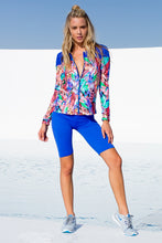 GORGEOUS CHAOS - Fitted Mesh Panel Jacket & Mixed Waistband Capri Legging • Multicolor