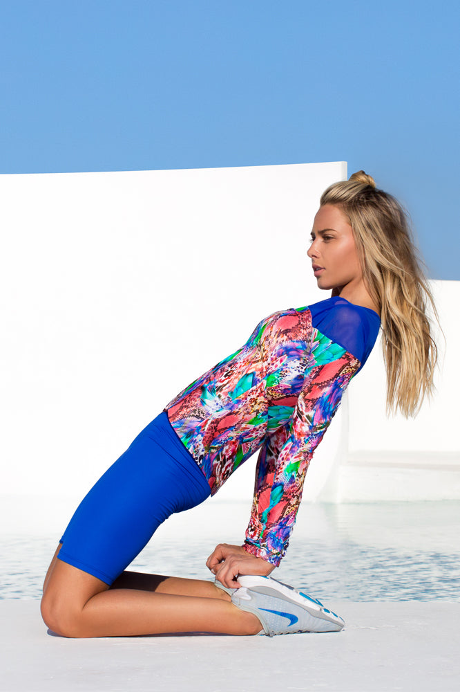 GORGEOUS CHAOS - Fitted Mesh Panel Jacket & Mixed Waistband Capri Legging • Multicolor (874444619820)