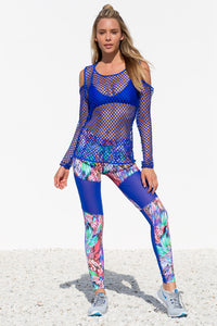 GORGEOUS CHAOS - Fishnet Long Sleeve Top & Mesh Cut Out Legging • Multicolor