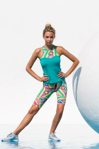 WILD HEART - High Neck Racer Tank Top & Mixed Waistband Capri • Multicolor