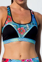 INKED BABE - Crossed Bra Mesh Sporty Bra & Engineered Print Legging • Multicolor