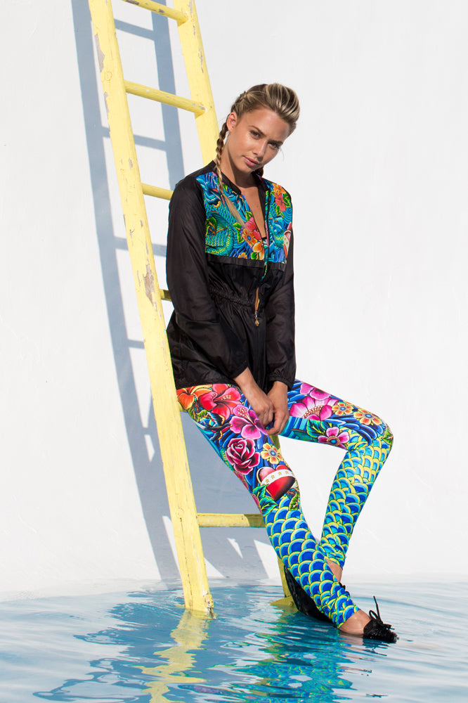 INKED BABE - Inked Babe Wind Breaker & Engineered Print Legging • Multicolor