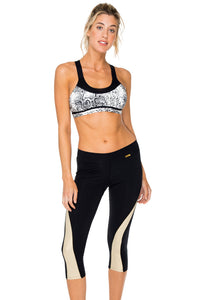 BOMBO - Crossback Sports Bra & Gold Cut Out Capri • Black Gold