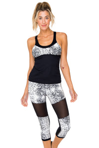 BOMBO - Mesh Inner Top V Cross Back Tanktop & Cross Waistband Mesh Cut Out Capri Legging • Multicolor