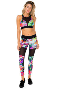 VIVA CUBA - Elastic Band Sports Bra & Mesh Cut Out Legging • Multicolor