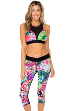 VIVA CUBA - Elastic Band Sports Bra & Cross Waistband Capri • Multicolor