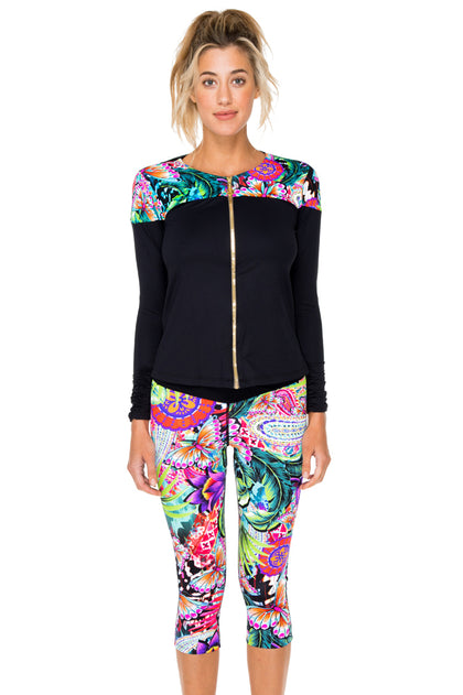 VIVA CUBA - Fitted Mesh Panel Jacket & Cross Waistband Capri • Multicolor
