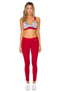 AZUCAR - Gold Crossback Sports Bra & Pintucked Knee Legging • Multicolor