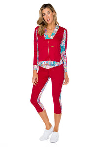 AZUCAR - Pintucked Sleevers Open Side Jacket & Cross Waistband Capri Legging • Multicolor (874528210988)