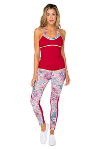 AZUCAR - Inner Top Cross Back Tank Top & Gold Trimmed Legging • Multicolor
