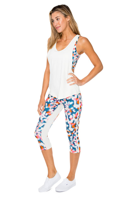 VIA BLANCA - Inner Top Racer Back Overlay Tank & Stripe Panel Inner Thigh Capri Legging • Multicolor